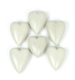 Kalalou Single Hand Carved Stone Heart-Light Grey
