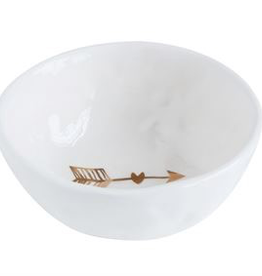 Creative Co-Op Round Ceramic Dish- w/Gold Arrow