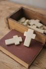 Kalalou Hand Carved Stone Cross- Light Grey- Single