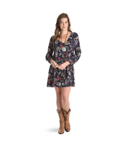 Wrangler Dress Boho Floral Print Long Sleeve LWD124M