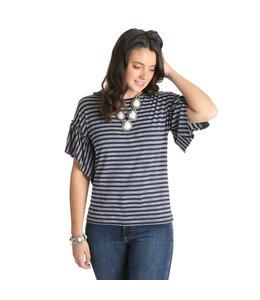 Wrangler Shirt Ruffle Sleeve Horizontal Striped LWK142V