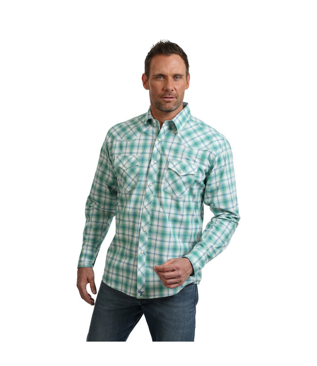 9217f1e2 Shirt Plaid Snap Western Two Pocket Long Sleeve MJC177M - Traditions ...
