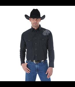Wrangler Shirt Striped Snap Western Long Sleeve Troubadour George Strait MGS60BK