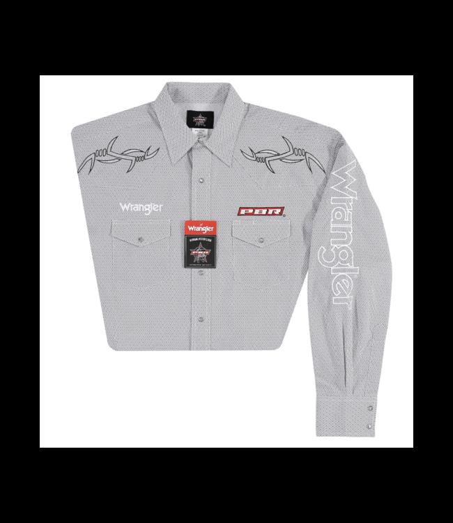 Wrangler Shirt Print Western Snap Long Sleeve PBR Logo MHS216M