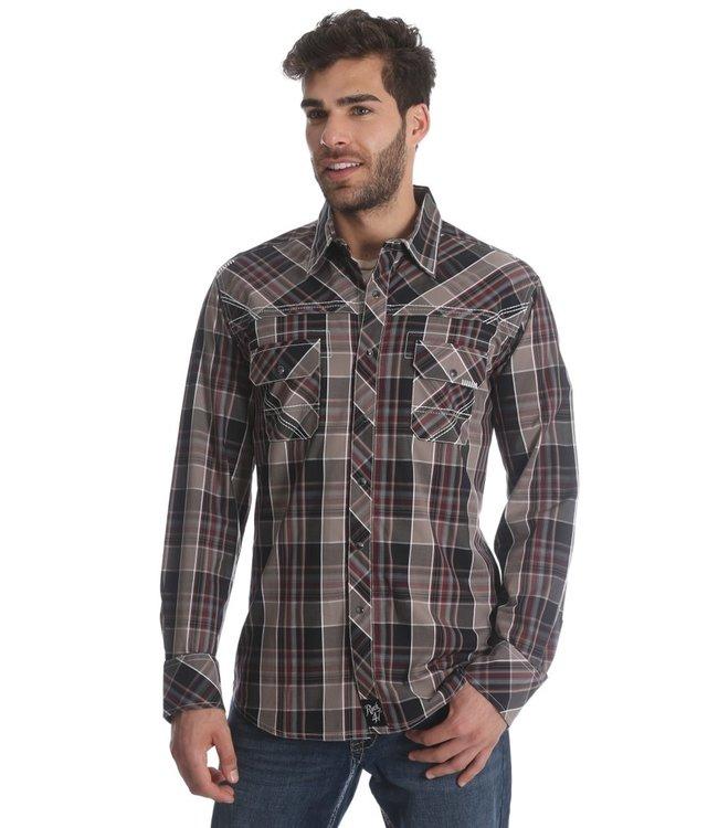 Wrangler Shirt Western Long Sleeve Plaid Rock 47 MRC316M