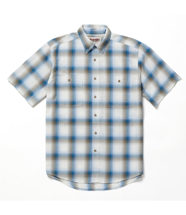 Wrangler Shirt Short Sleeve Blue Ridge Plaid Rugged Wear RWBS1BL
