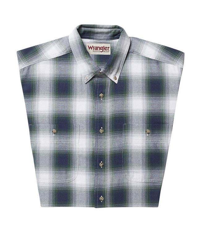 Wrangler Shirt Long Sleeve Blue Ridge Plaid Rugged Wear RWL19SL