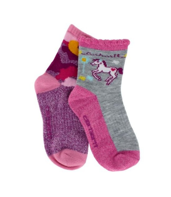 Carhartt Socks Crew With Carhartt Grippers Girls 2-Pack GA350-2