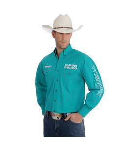 Wrangler Shirt Printed Snap Western Ram Rodeo Series Logo MP2345M