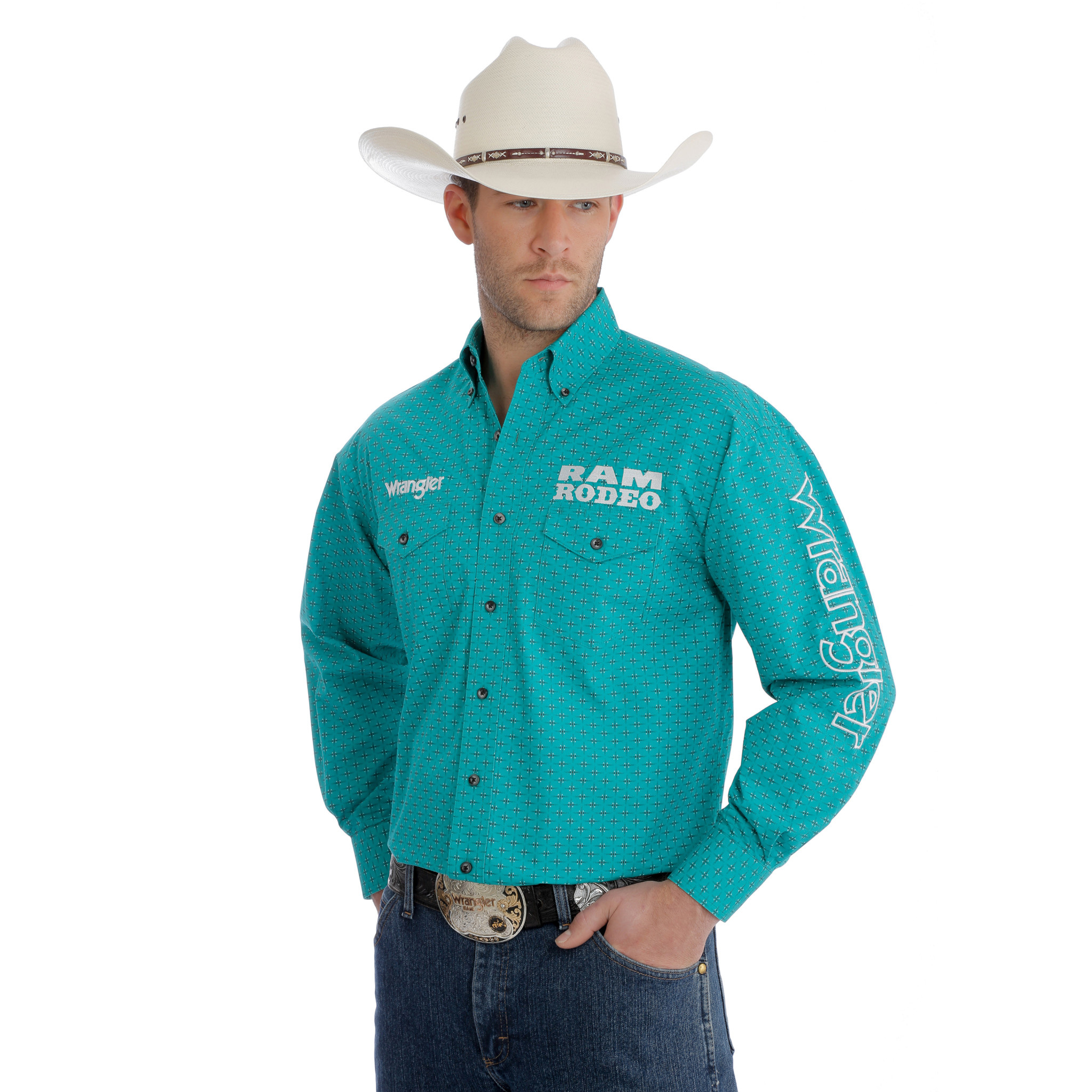331810b1 Wrangler Shirt Printed Snap Western Ram Rodeo Series Logo MP2345M. prev