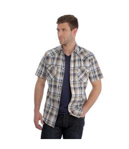 Wrangler Shirt Plaid Pocket Snap Short Sleeve Retro MVR439M
