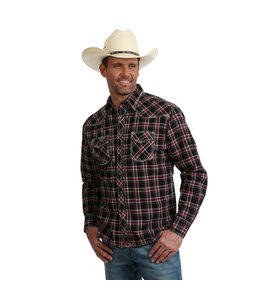 Wrangler Shirt Plaid Western Two Pocket Long Sleeve Advanced Comfort 20X Competition MJC202M