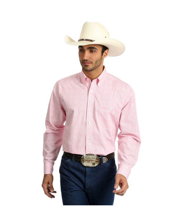 Wrangler Shirt Long Sleeve Tough Enough To Wear Pink MTP263M