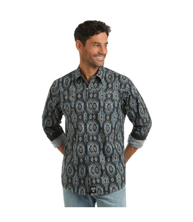 Wrangler Shirt Long Sleeve Snap Aztec Print Rock 47 MRC372M