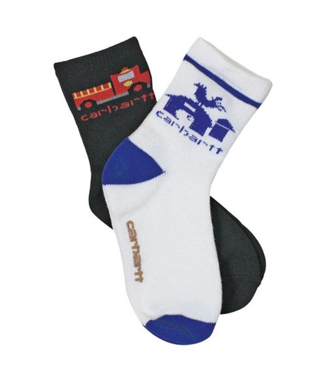Carhartt Crew Sock Boy's With Carhartt Grippers 2 Pack BA885-2