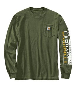 Carhartt T-Shirt Long Sleeve Brick Sleeve Logo Workwear 103141