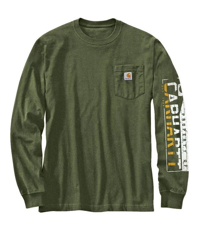 Carhartt T-Shirt Long Sleeve Brick Sleeve Logo Workwear 103141