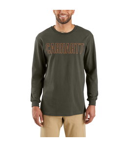 Carhartt T-Shirt Long-Sleeve Block Logo Graphic Workwear 103841