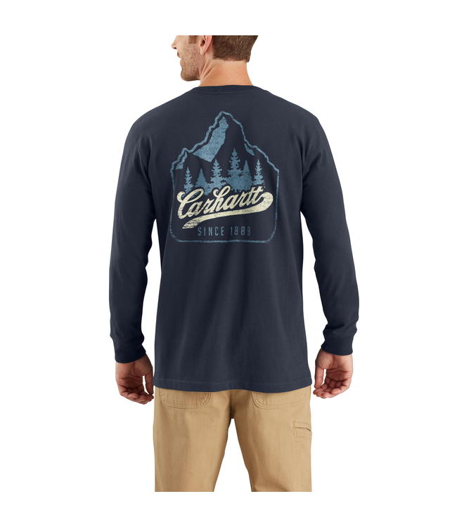 Carhartt T-Shirt Pocket Long-Sleeve Mountain Patch Graphic Workwear 104029