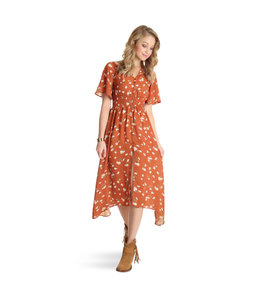 Wrangler Dress Midi Floral Print Flutter Sleeve Wrangler Retro LWD309M