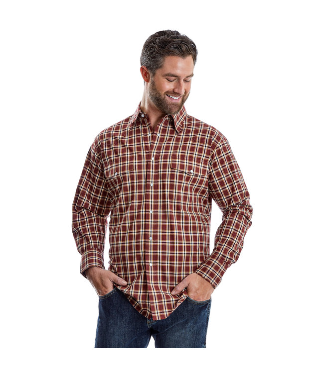 Wrangler Shirt Plaid Western Snap Long Sleeve Wrinkle Resist MWR351M