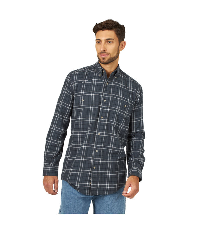 Wrangler Shirt Flannel Blue Ridge Wrangler Rugged Wear RWFL3GY