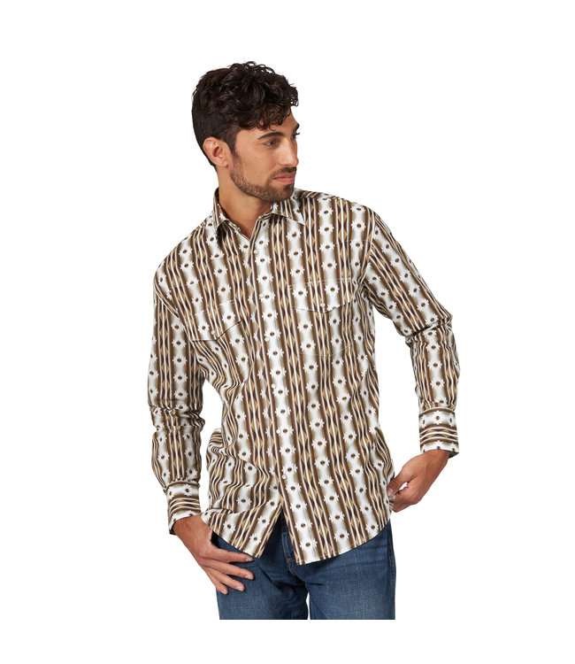 Wrangler Shirt Vertical Print Western Snap Long Sleeve Checotah MC1249T