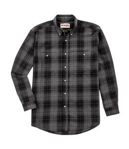 Wrangler Shirt Long Sleeve Blue Ridge Flannel Rugged Wear RWFL4BG