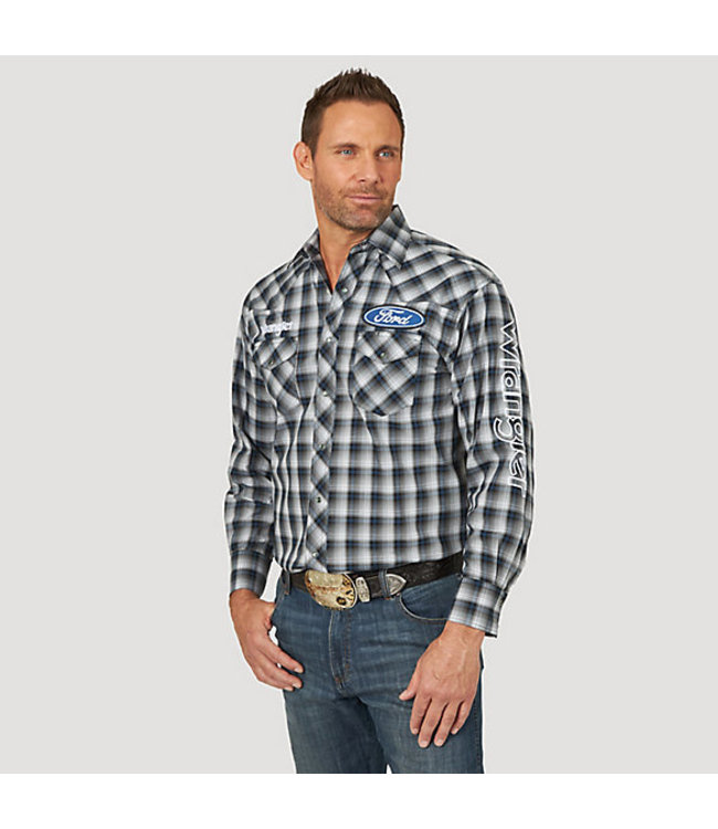 Wrangler Shirt Plaid Spread Collar Long Sleeve Wrangler And Ford Logo MP1324M