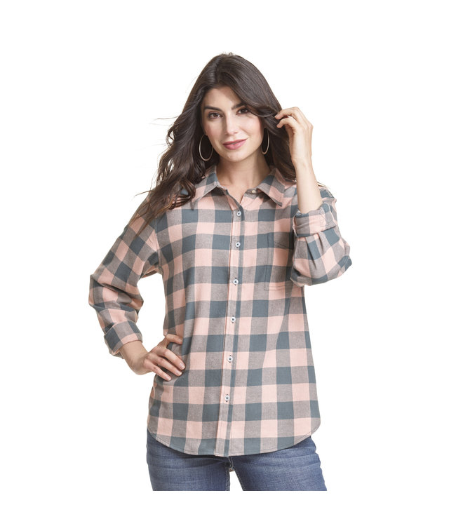 Wrangler Shirt Flannel Buffalo Check Button-Down Boyfriend Fit LW8053M