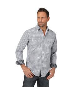 Wrangler Shirt Print Button Down Long Sleeve Advanced Comfort 20X Competition MJC235M