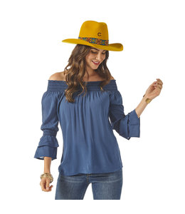 Wrangler Top Smocked Neck Off-The-Shoulder LW8123B