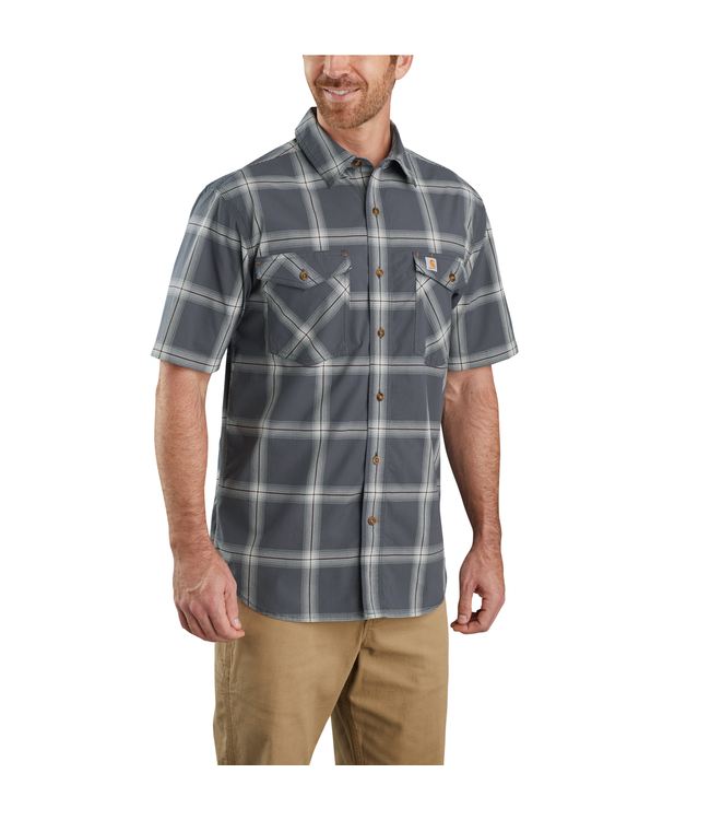 Carhartt Men's Rugged Flex Relaxed Fit Lightweight Short-Sleeve Button-Front Plaid Shirt 104173