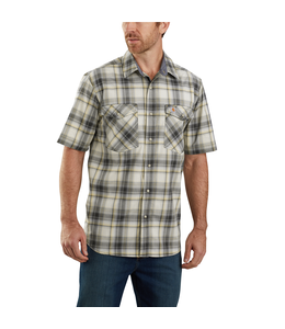 Carhartt Men's Rugged Flex Relaxed Fit Lightweight Short-Sleeve Snap-Front Plaid Shirt 104171