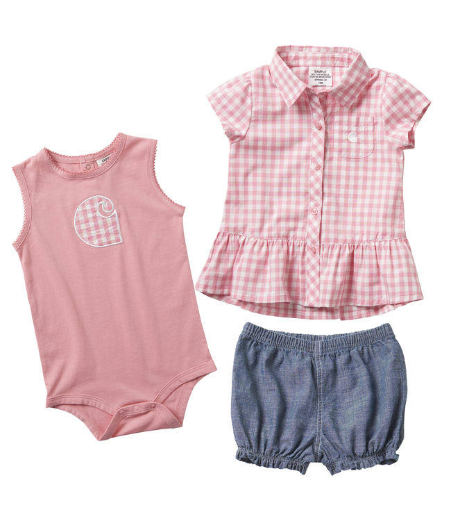 Carhartt 3-Piece Plaid Short Gift Set Girl's Infant CG9728