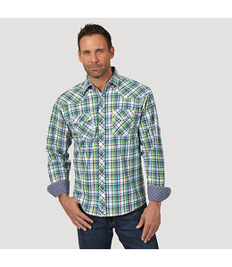 Wrangler Men's Advanced Comfort Long Sleeve Western Snap Plaid Shirt MJC255M
