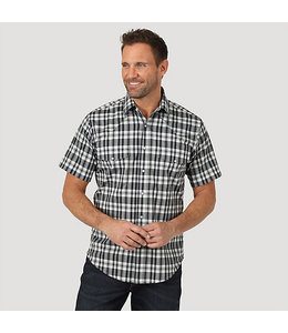 Wrangler Wrinkle Resist Short Sleeve Western Snap Plaid Shirt MWR365X