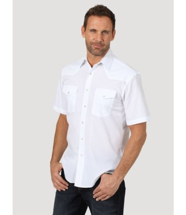 Wrangler Men's Short Sleeve Solid Western Snap Sport Shirt 71106WH