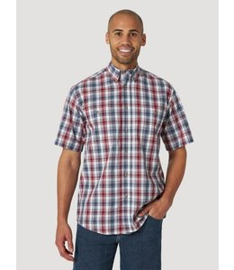 Wrangler Men's Rugged Wear Short Sleeve Easy Care Plaid Button Down Shirt RWBS2RB