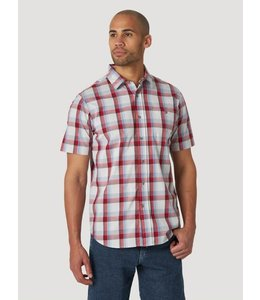 Wrangler Men's Rugged Wear Short Sleeve Performance Plaid Button-Down Shirt RWPS2RM