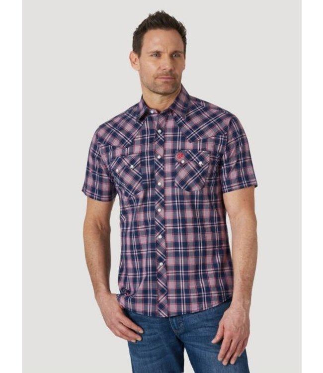 Wrangler Men's Retro Short Sleeve Snap Pocket Plaid Shirt MVR508N
