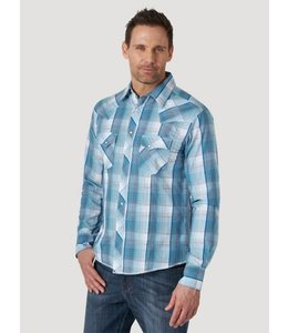 Wrangler Men's Long Sleeve Fashion Western Snap Plaid Shirt MVG288B