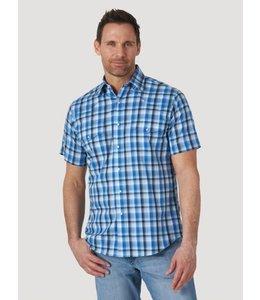 Wrangler Men's Wrinkle Resist Short Sleeve Western Snap Plaid Shirt MWR378N