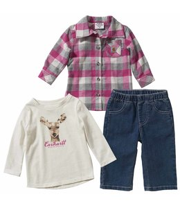 Carhartt Girl's Infant 3 Piece Fannel Shirt Set CG9742