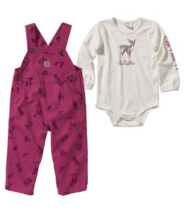 Carhartt Girl's Infant Printed Canvas Overall Set CG9736