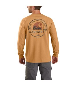 Carhartt Men's Relaxed Fit Heavyweight Long-Sleeve Pocket Built For The Elements Graphic T-Shirt 104438