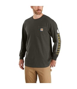 Carhartt Men's Original Fit Heavyweight Long-Sleeve Pocket Logo Graphic T-Shirt 104430