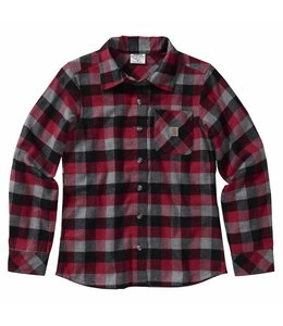 Carhartt Girl's Long Sleeve Plaid Button Down Flannel Shirt CE9141