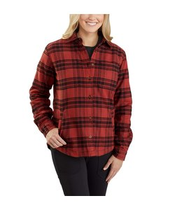 Carhartt Women's Rugged Flex Relaxed Fit Flannel Fleece-Lined Plaid Shirt 104518