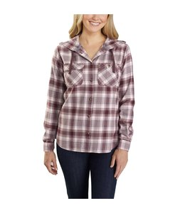 Carhartt Women's Relaxed Fit Flannel Hooded Plaid Shirt 104517